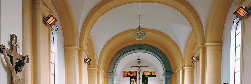 Kostel VeřovicePo dlouhých jednání s odborníky památkových úřadů bylo konstatováno, že vytápění světlými infrazářiči je nejvýhodnějším řešením u historických objektů. Jakékoliv jiné řešení vyžaduje jak rozsáhlejší stavební úpravy...Více informací zde